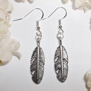 Bohemian Silver Feather Earrings Dangle Set 2290
